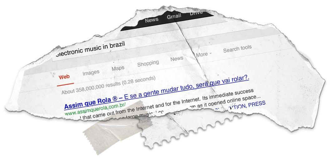 Pesquisando no Google: MúsicaEletrônica > Assim Que Rola como primeiro resultado